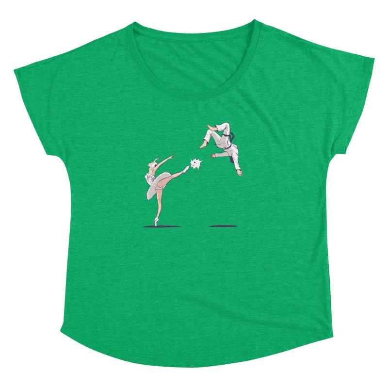 Swan Kick Women's Dolman Scoop Neck by Flying Mouse365