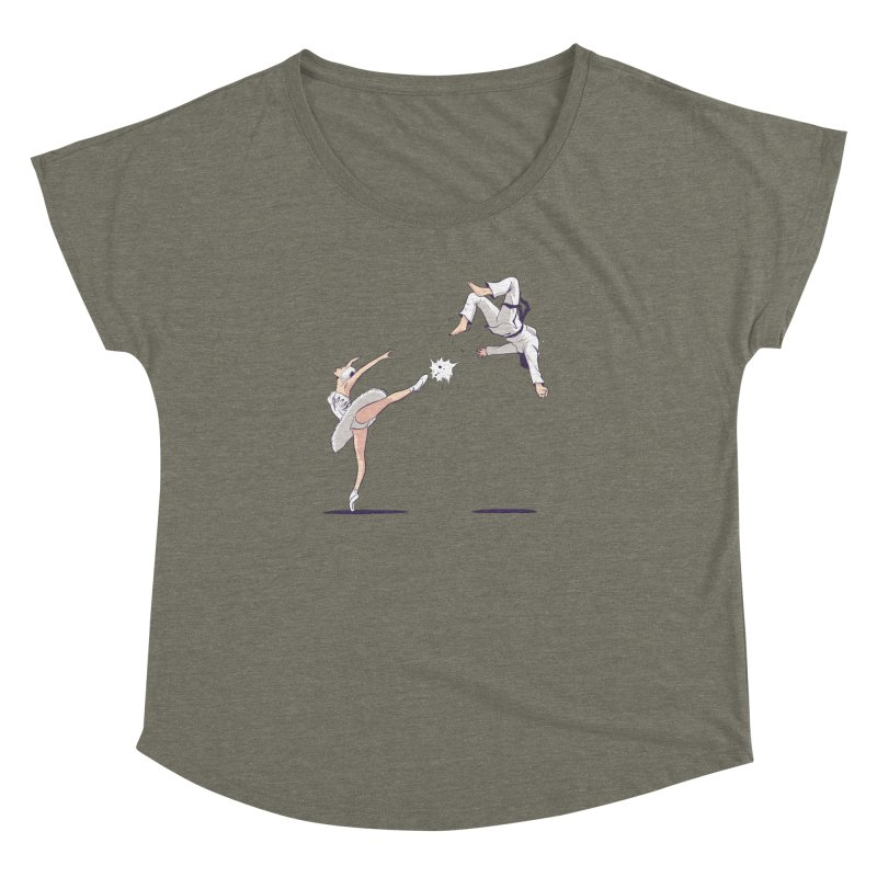 Swan Kick Women's Dolman Scoop Neck by Flying Mouse365