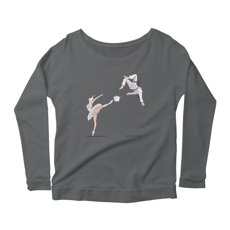Swan Kick Women's Scoop Neck Longsleeve T-Shirt by Flying Mouse365