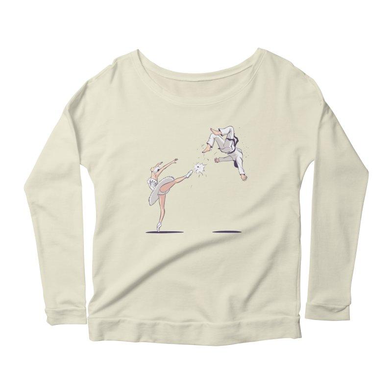 Swan Kick Women's Scoop Neck Longsleeve T-Shirt by Flying Mouse365