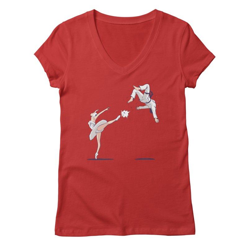 Swan Kick Women's Regular V-Neck by Flying Mouse365