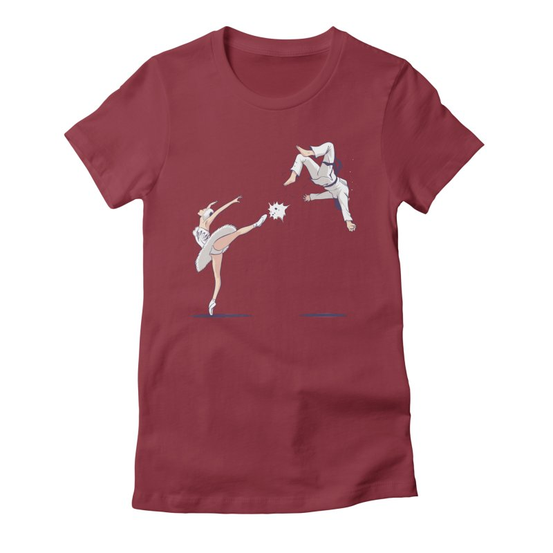 Swan Kick Women's T-Shirt by Flying Mouse365