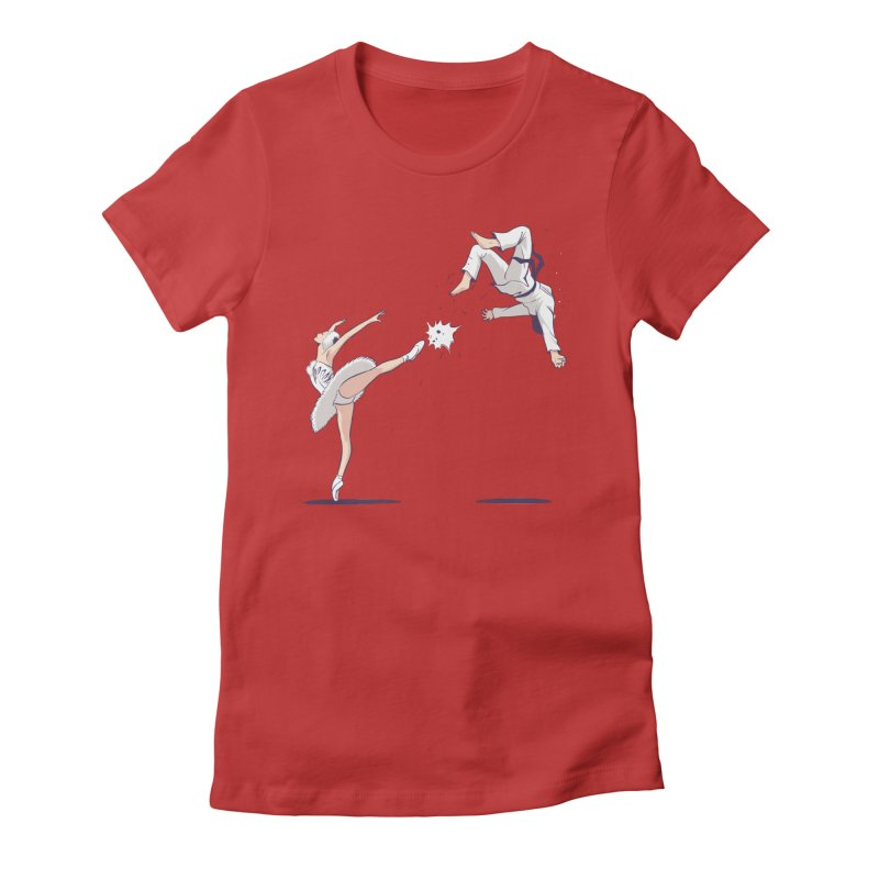 Swan Kick Women's Fitted T-Shirt by Flying Mouse365