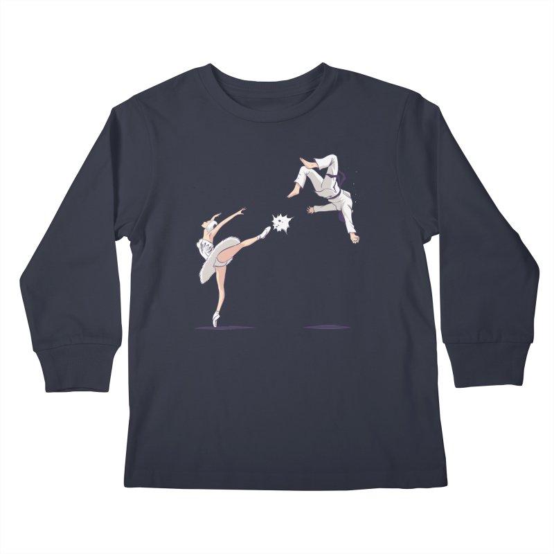 Swan Kick Kids Longsleeve T-Shirt by Flying Mouse365