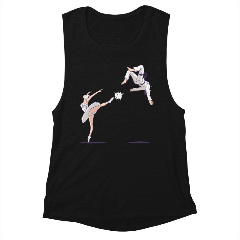 Swan Kick Women's Muscle Tank by Flying Mouse365