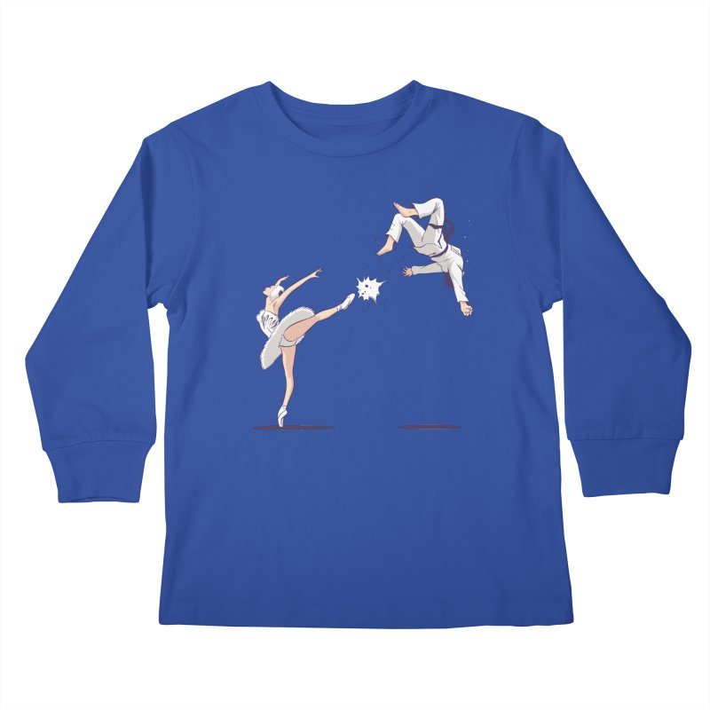 Swan Kick Kids Longsleeve T-Shirt by Flying Mouse365