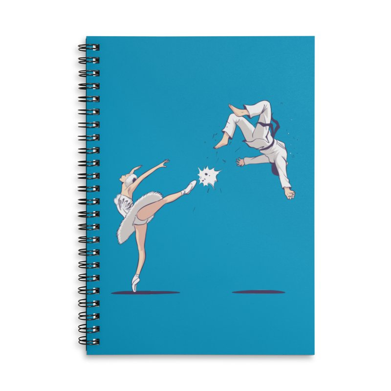 Swan Kick Accessories Lined Spiral Notebook by Flying Mouse365