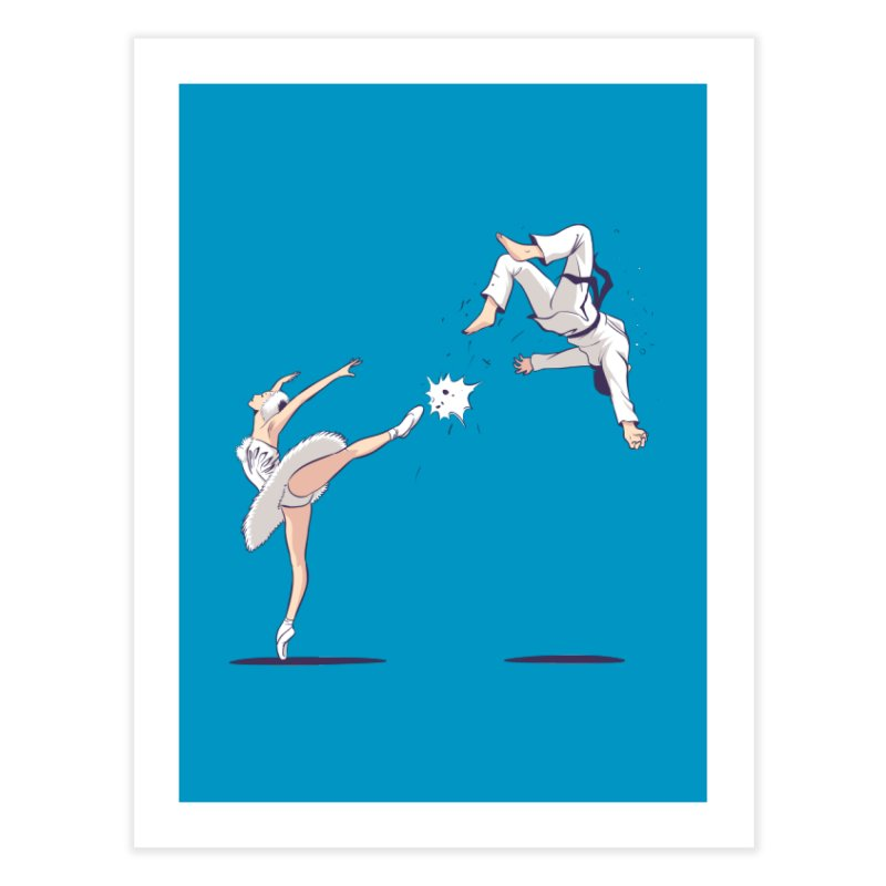 Swan Kick Home Fine Art Print by Flying Mouse365