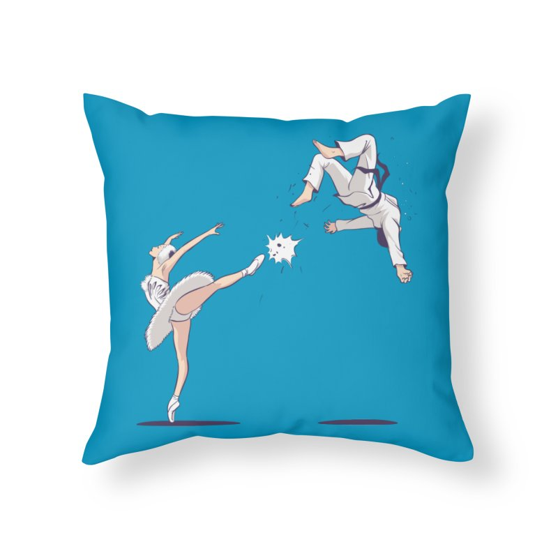 Swan Kick Home Throw Pillow by Flying Mouse365