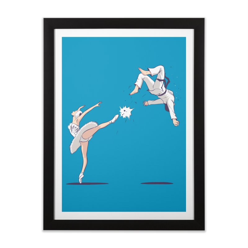 Swan Kick Home Framed Fine Art Print by Flying Mouse365