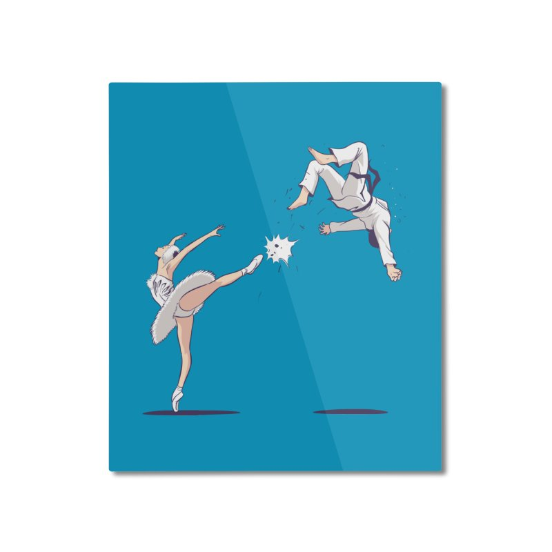 Swan Kick Home Mounted Aluminum Print by Flying Mouse365