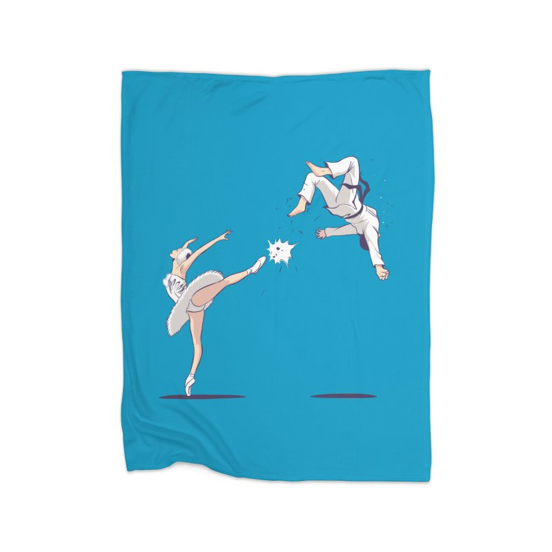 Swan Kick Home Fleece Blanket Blanket by Flying Mouse365