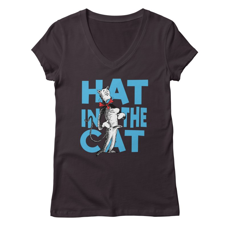 Hat in the Cat Women's V-Neck by Flynnteractive's Artist Shop
