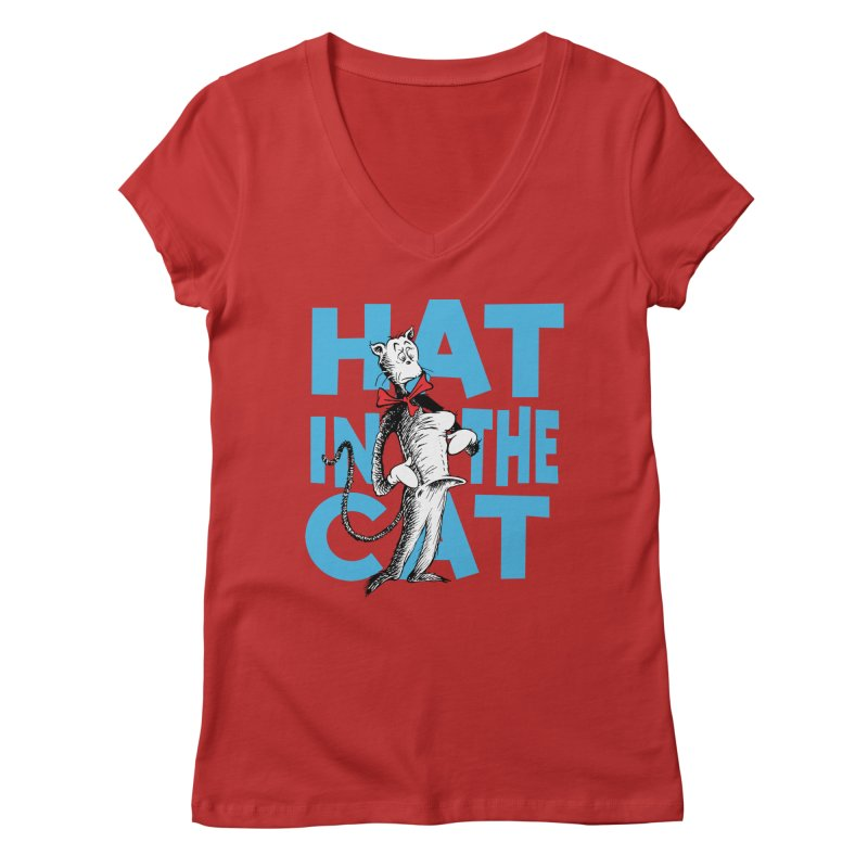 Hat in the Cat Women's Regular V-Neck by Flynnteractive's Artist Shop