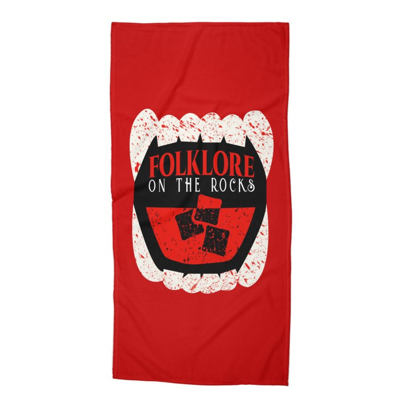 Folklore on the Rocks Blood Spattered Logo Accessories Beach Towel by Folklore on the Rocks Podcast MERCH!