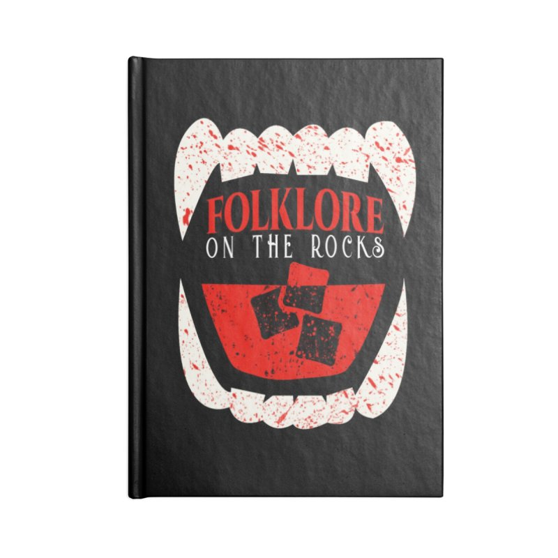 Folklore on the Rocks Blood Spattered Logo Accessories Lined Journal Notebook by Folklore on the Rocks Podcast MERCH!