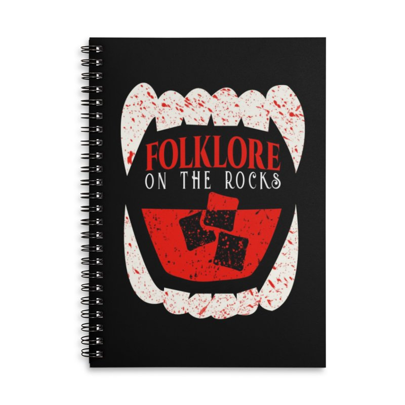 Folklore on the Rocks Blood Spattered Logo Accessories Lined Spiral Notebook by Folklore on the Rocks Podcast MERCH!