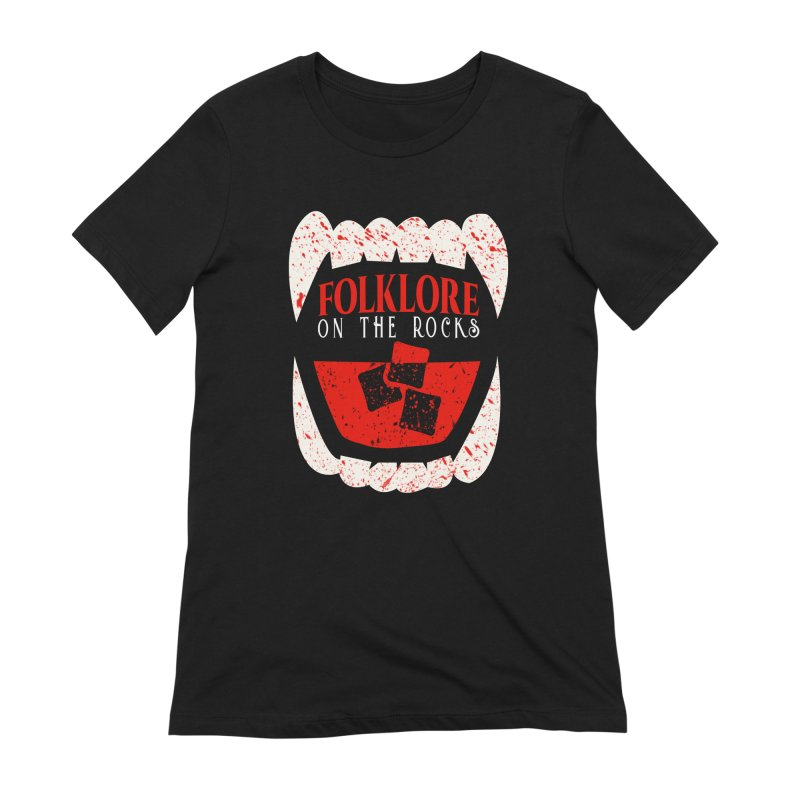 Folklore on the Rocks Blood Spattered Logo Women's Extra Soft T-Shirt by Folklore on the Rocks Podcast MERCH!