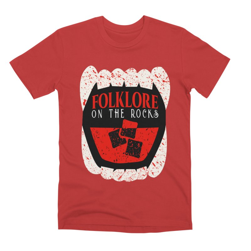 Folklore on the Rocks Blood Spattered Logo Men's Premium T-Shirt by Folklore on the Rocks Podcast MERCH!