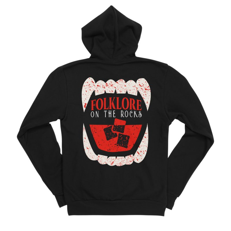 Folklore on the Rocks Blood Spattered Logo Women's Sponge Fleece Zip-Up Hoody by Folklore on the Rocks Podcast MERCH!