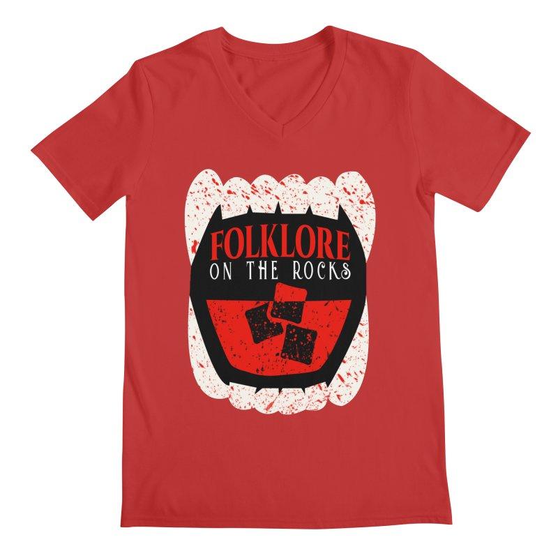 Folklore on the Rocks Blood Spattered Logo Men's V-Neck by Folklore on the Rocks Podcast MERCH!
