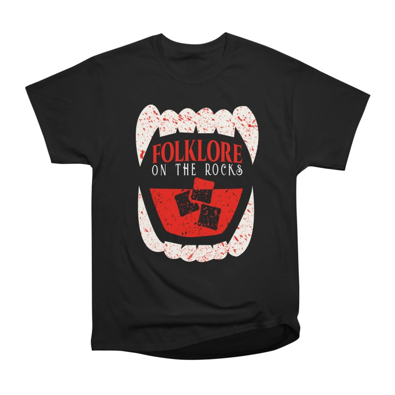 Folklore on the Rocks Blood Spattered Logo Women's Heavyweight Unisex T-Shirt by Folklore on the Rocks Podcast MERCH!