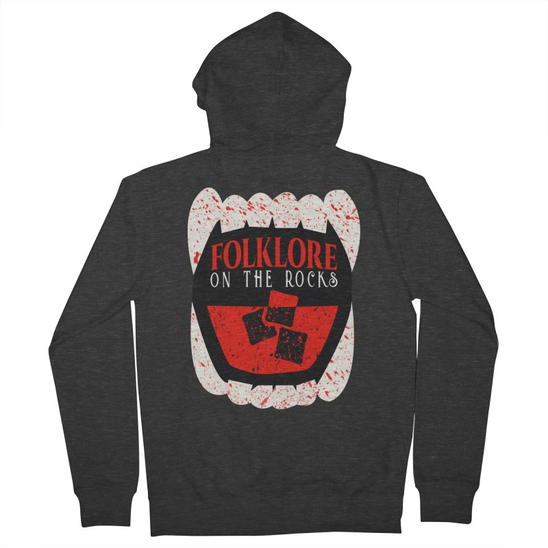 Folklore on the Rocks Blood Spattered Logo Men's French Terry Zip-Up Hoody by Folklore on the Rocks Podcast MERCH!