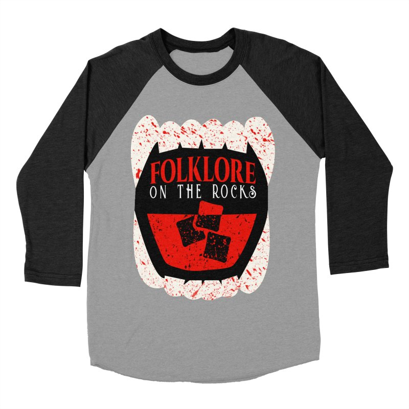 Folklore on the Rocks Blood Spattered Logo Women's Baseball Triblend Longsleeve T-Shirt by Folklore on the Rocks Podcast MERCH!