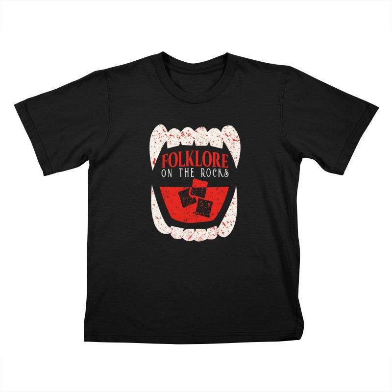 Folklore on the Rocks Blood Spattered Logo Kids T-Shirt by Folklore on the Rocks Podcast MERCH!