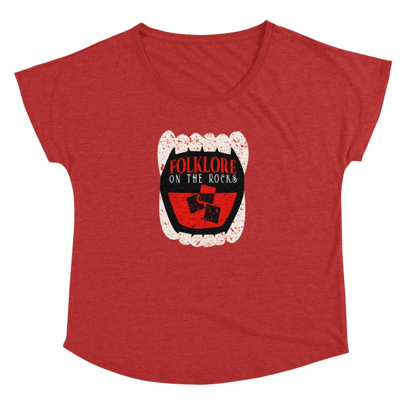 Folklore on the Rocks Blood Spattered Logo Women's Dolman Scoop Neck by Folklore on the Rocks Podcast MERCH!