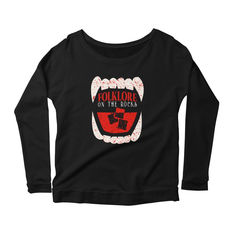 Folklore on the Rocks Blood Spattered Logo Women's Scoop Neck Longsleeve T-Shirt by Folklore on the Rocks Podcast MERCH!