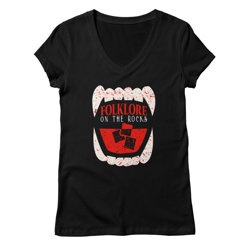 Folklore on the Rocks Blood Spattered Logo Women's Regular V-Neck by Folklore on the Rocks Podcast MERCH!
