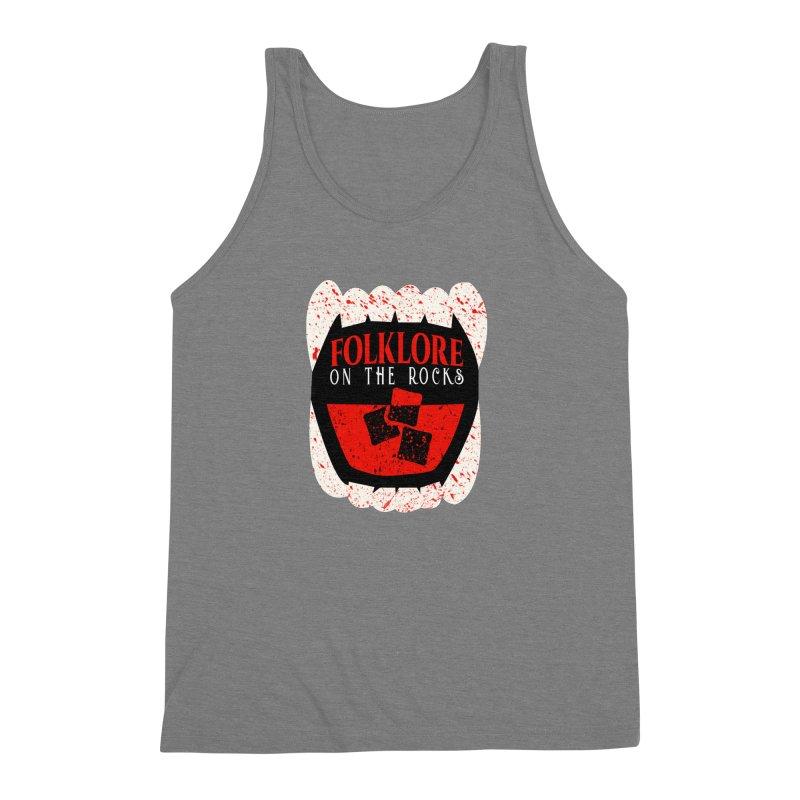 Folklore on the Rocks Blood Spattered Logo Men's Triblend Tank by Folklore on the Rocks Podcast MERCH!