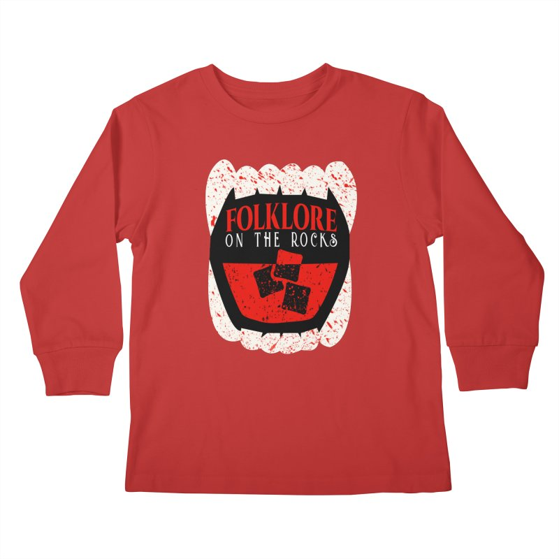 Folklore on the Rocks Blood Spattered Logo Kids Longsleeve T-Shirt by Folklore on the Rocks Podcast MERCH!