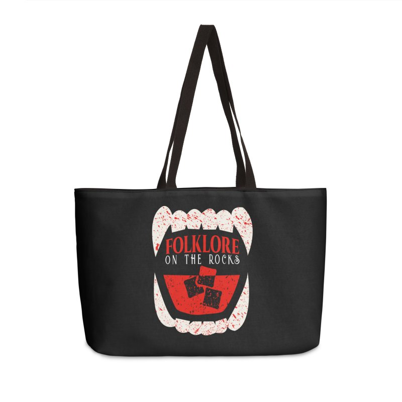 Folklore on the Rocks Blood Spattered Logo Accessories Weekender Bag Bag by Folklore on the Rocks Podcast MERCH!