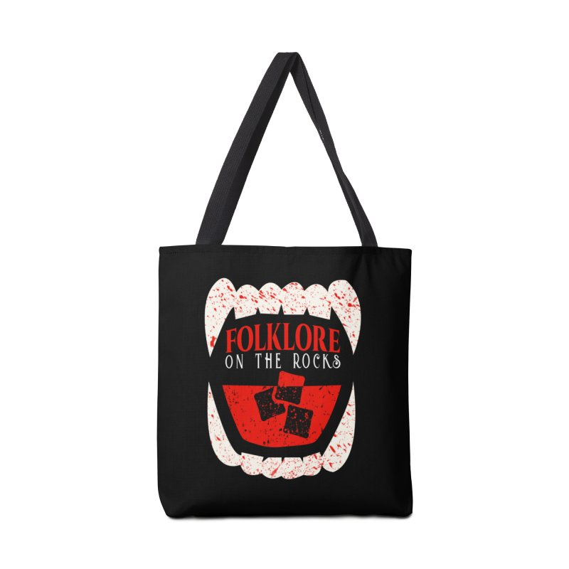 Folklore on the Rocks Blood Spattered Logo Accessories Tote Bag Bag by Folklore on the Rocks Podcast MERCH!