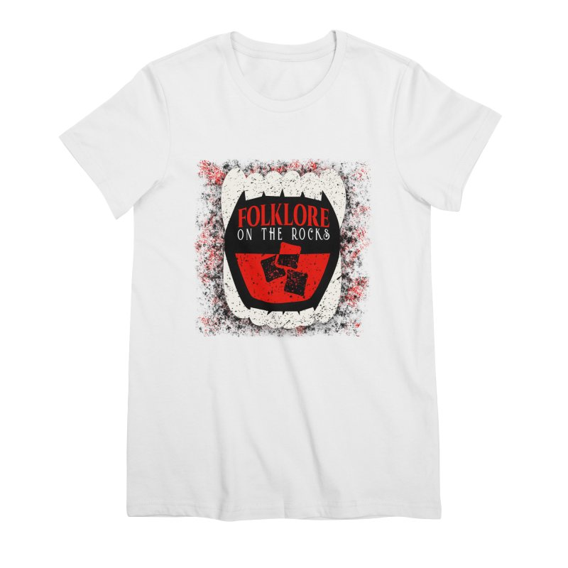 Folklore on the Rocks Classic Logo w/ Grunge Background Women's Premium T-Shirt by Folklore on the Rocks Podcast MERCH!