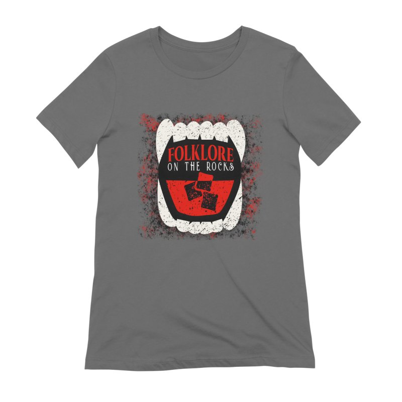 Folklore on the Rocks Classic Logo w/ Grunge Background Women's Extra Soft T-Shirt by Folklore on the Rocks Podcast MERCH!