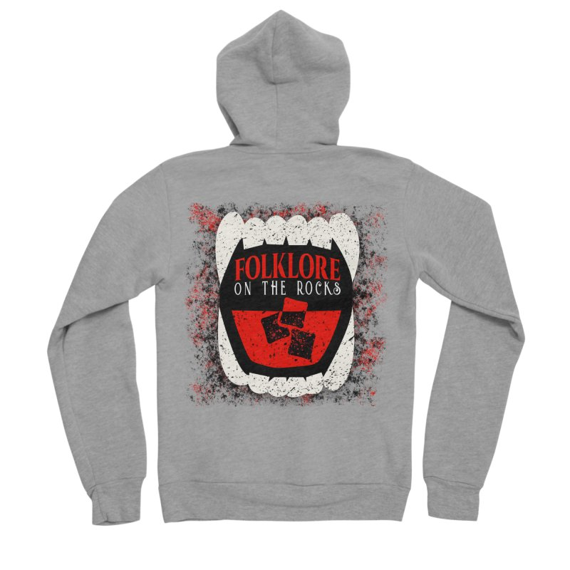 Folklore on the Rocks Classic Logo w/ Grunge Background Women's Sponge Fleece Zip-Up Hoody by Folklore on the Rocks Podcast MERCH!