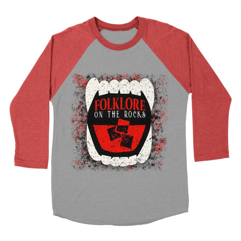 Folklore on the Rocks Classic Logo w/ Grunge Background Women's Baseball Triblend Longsleeve T-Shirt by Folklore on the Rocks Podcast MERCH!