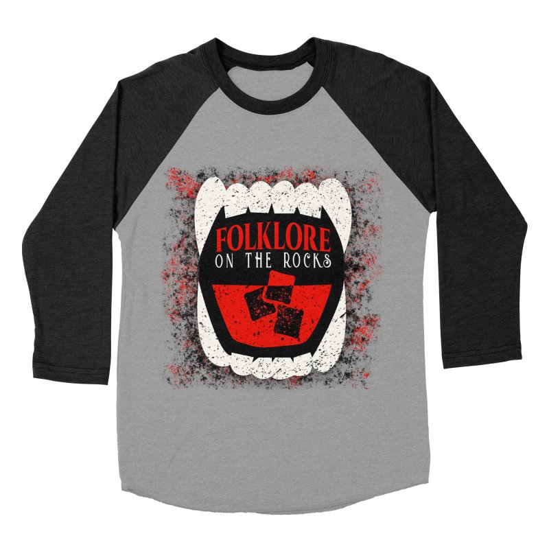 Folklore on the Rocks Classic Logo w/ Grunge Background Men's Baseball Triblend Longsleeve T-Shirt by Folklore on the Rocks Podcast MERCH!