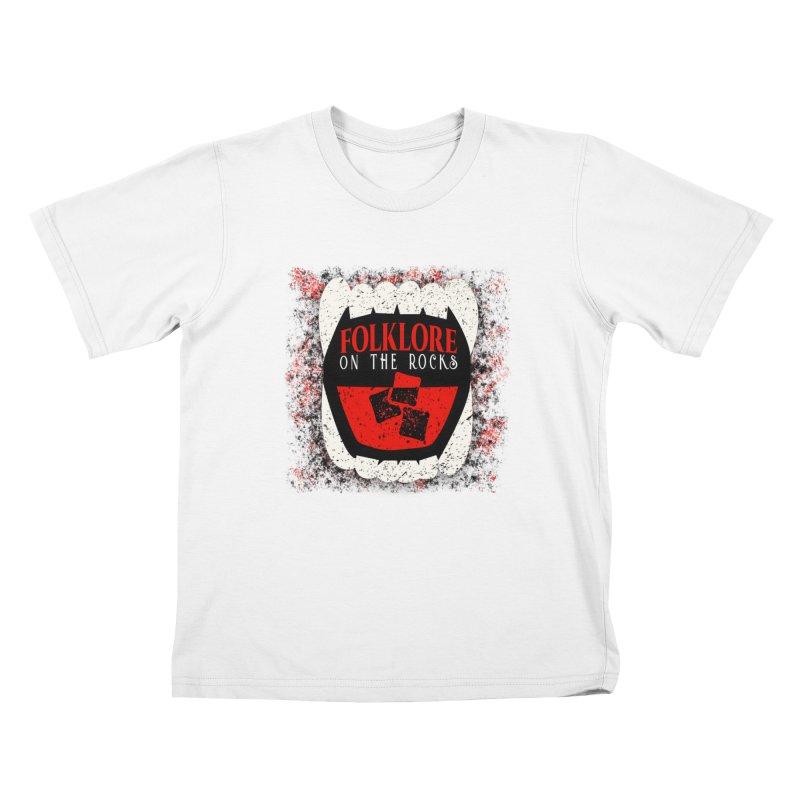 Folklore on the Rocks Classic Logo w/ Grunge Background Kids T-Shirt by Folklore on the Rocks Podcast MERCH!