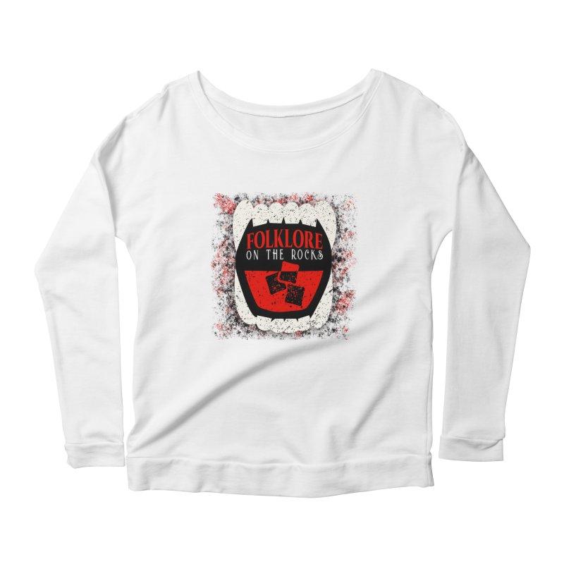 Folklore on the Rocks Classic Logo w/ Grunge Background Women's Scoop Neck Longsleeve T-Shirt by Folklore on the Rocks Podcast MERCH!
