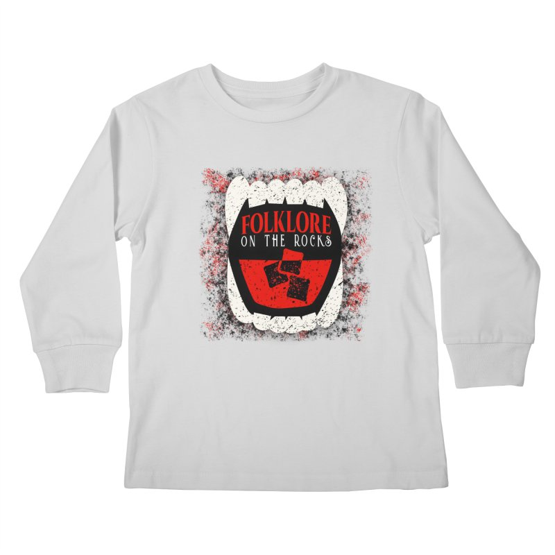 Folklore on the Rocks Classic Logo w/ Grunge Background Kids Longsleeve T-Shirt by Folklore on the Rocks Podcast MERCH!