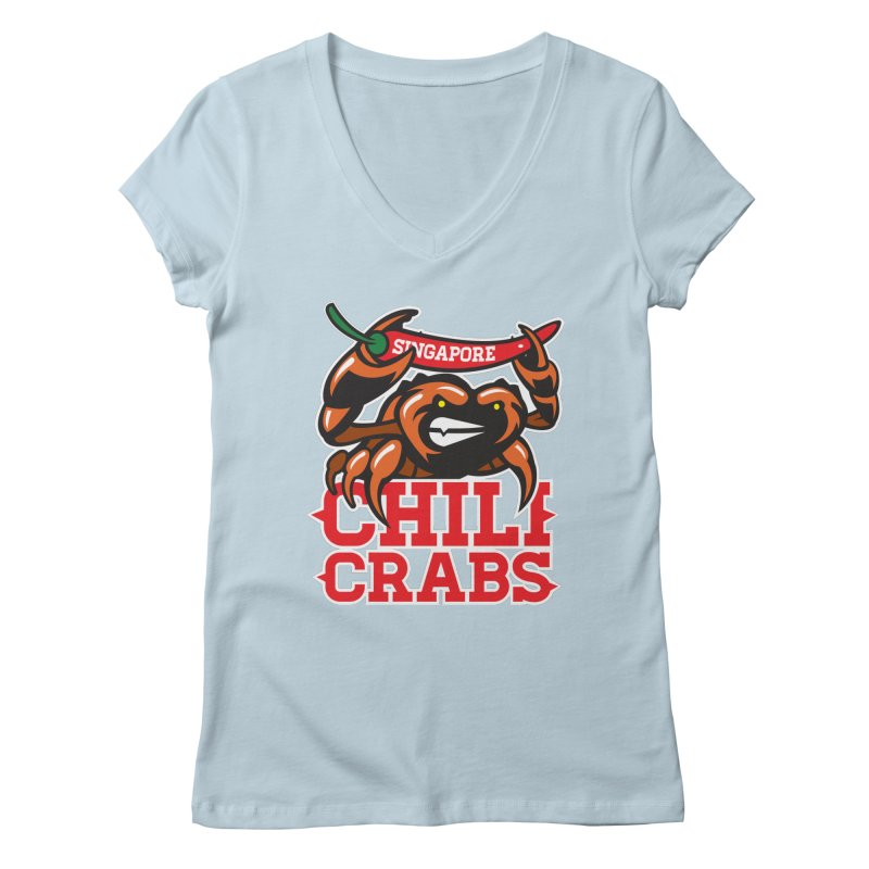 SINGAPORE CHILI CRABS Women's V-Neck by foodfight's Artist Shop