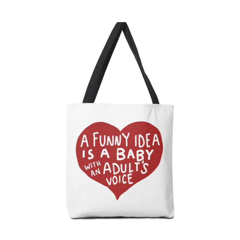 A Funny Idea Is A Baby With An Adult's Voice Accessories Tote Bag Bag by foodstampdavis's Artist Shop