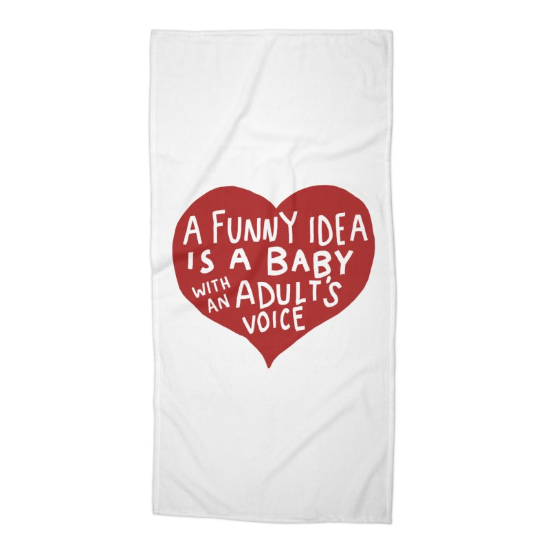 A Funny Idea Is A Baby With An Adult's Voice Accessories Beach Towel by foodstampdavis's Artist Shop