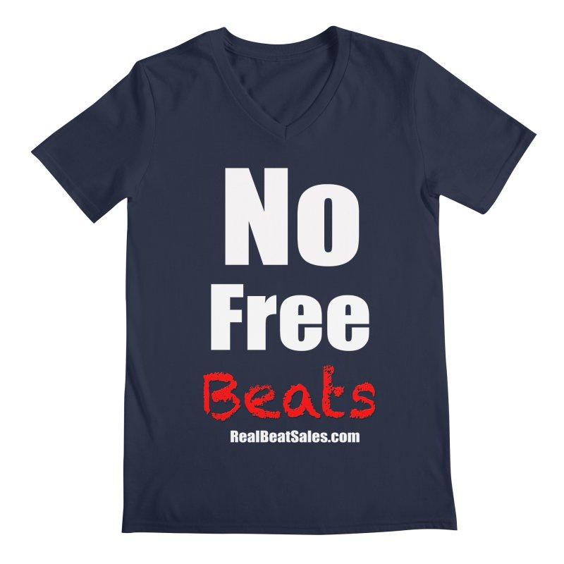 Black No Free Beats Men's Regular V-Neck by foulal's Artist Shop