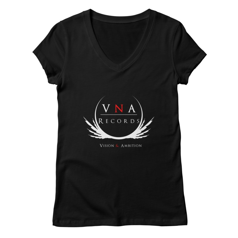 VNA Records Tee Black Women's Regular V-Neck by foulal's Artist Shop