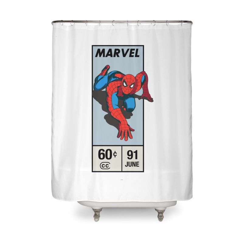 Spidey Comic Banner 2 Home Shower Curtain by foureyedesign shop